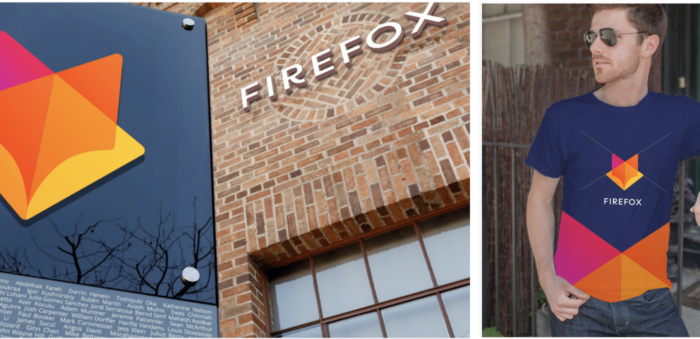 Comp of the new Firefox logo on signage and apparel